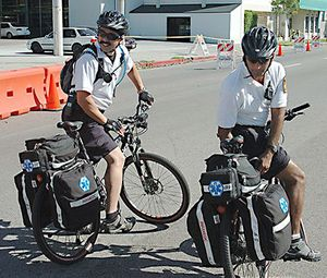 Paramedics in Los Angeles treat patients by bicycle. By shifting to a smaller vehicle for non-emergency calls, you can reduce costs and preserve the capacity of your system. (image Flickr/Damon D'Amato)