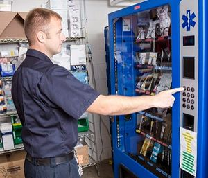 Controlled access pharmacy dispensing machines that integrate with monitoring software like Operative IQ from Bound Tree provide oversight that helps cut down on waste by tracking inventory use and alerting managers when items are about to expire or run out. (photo/Bound Tree)