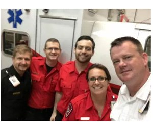 The first CCEMS team to use blood products in the field included District 51 field supervisor Samuel Kordik, paramedic Jessica McClosky, Joel Kordik, Volunteer Jeremy Claxton and James Burton. (Photo/Cypress Creek EMS)