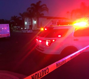 A note referencing the recent terrorist attacks in New Zealand was found at the scene of the possible arson fire at the Southern California mosque, police said Sunday.(Ramon Galindo/KNSD TV/NBC via AP)