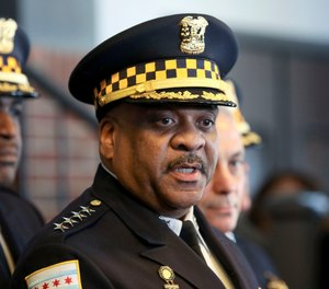 """Chicago Police Superintendent Eddie Johnson speaks during a news conference Tuesday, March 26, 2019, after prosecutors abruptly dropped all charges against """"Empire"""" actor Jussie Smollett, abandoning the case barely five weeks after he was accused of lying to police about being the target of a racist, anti-gay attack in downtown Chicago. (AP Photo/Teresa Crawford)"""