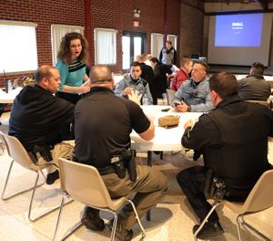 Police from Chicago's western suburbs attend a presentation on suicide given by Dr. Carrie Steiner, Psy.D., a licensed clinical/police psychologist, in McCook, Ill., on March 14, 2019. (Antonio Perez/Chicago Tribune/TNS)
