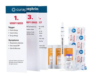 Curaplex Epi-Safe Kits offer a clinically appropriate alternative to using an epi auto-injector. They are available in single-dose, double-dose and training kits. (image/Bound Tree)