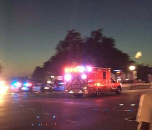 Ambulance responding to police officer shooting in Dallas Thursday. (Image courtesy Twitter ahuguelet)