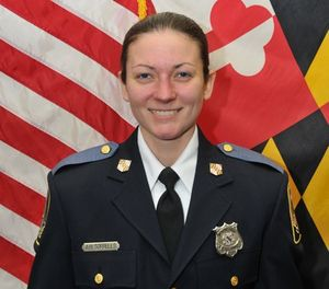 This undated photo made available by the Baltimore County Police and Fire Department Tuesday, May 22, 2018, shows Baltimore County Police officer first class Amy Caprio, who was killed in the line of duty on Monday, May 21, 2018. (Baltimore County Police and Fire Department via AP)