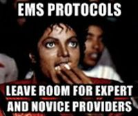 Who is correct when EMS providers defend strict protocol adherence?