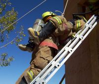 Ground ladder placement: Rescue from a burning building