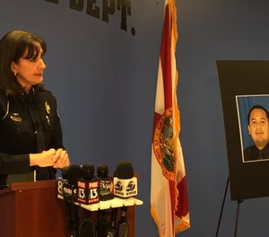 Bradenton Police Chief Melanie Bevan at a press conference explaining the incidents of Ex-officer Leonel Marines (Photo/ Sarasota Herald-Tribune via YouTube)