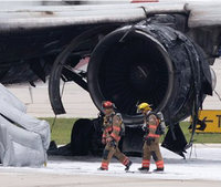 Airport firefighters knock down commercial jet fire