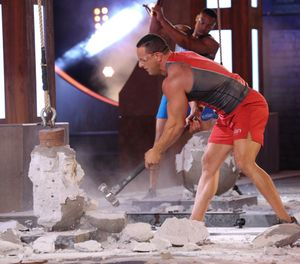 "FDNY firefighter Frank Sansonetti competes to win the title of Titan on NBC's ""Titan Games."" (Photo/Courtesy of NBC)"