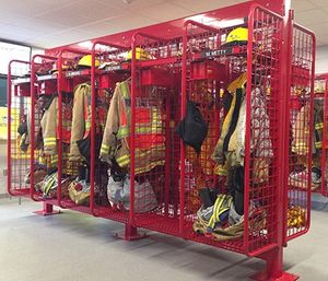 For many fire departments, the storage system must serve as more than just a locker for PPE storage. GearGrid offers a wide variety of accessories GearGrid to customize each locker. (image/GearGrid)