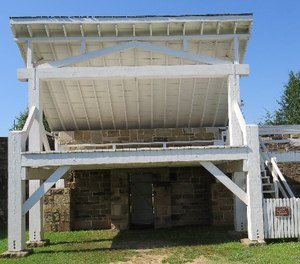 """Judge Isacc Parker's Gallows at Fort Smith where, on July 6, 1888, Gus Boggles """"took a long drop into eternity."""" (Photo/Dan Marcou)"""
