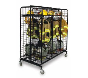 Mobile lockers provide a good tool for keeping soiled turnout gear off of the apparatus floor and other equipment in the station while awaiting its turn in the washer/dryer process. (image/GearGrid)