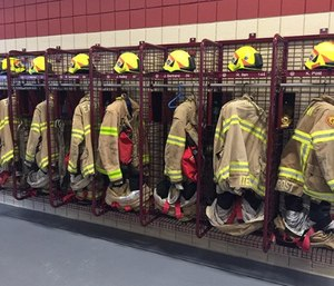 GearGrid's open-grid PPE drying and storage systems are designed and constructed to maximize a fire department's ability to quickly dry and effectively store PPE. (photo/GearGrid)