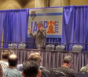 Gordon Graham speaks to the audience at IACP 2017. (Photo/PoliceOne)