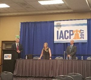 Police Legal Advisor Joseph Polzak, Chief of Police Bernadette DiPino and Patrol Division Captain Kevin Stiff discuss the Sarasota P.D.'s homeless outreach program at IACP 2017. (Photo/Nancy Perry)