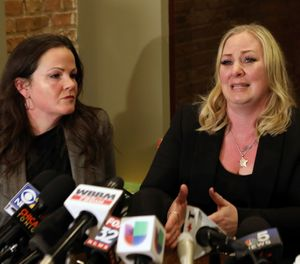 Tiffany Van Dyke, right, wife of a Chicago police officer who fatally shot teenager Laquan McDonald, speaks during a news conference Thursday, Feb. 14, 2019, in Chicago as her attorney Tammy Wendt listens. (AP Photo/Teresa Crawford)