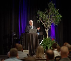 Jay Fitch, Ph.D., discussed the importance of working with colleagues who are both friends and enemies as a critical leadership skill in today's interconnected world as part of the Pinnacle Leadership Series keynote presentation. (Photo courtesy of Pinnacle)