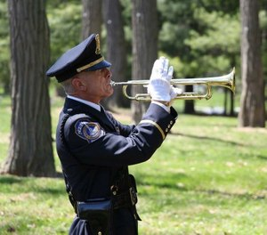 "Officer Jeff Staff has been an Honor Guard ""TAPS"" bugler for the past 31 years. (Photo/Indy Public Safety Foundation)"