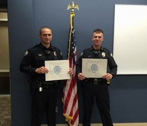 Little Rock police officers Palmer and Morris were recognized for their life-saving treatment of a shooting victim (Image courtesy Little Rock Police)
