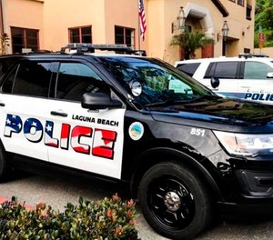 The Laguna Beach Police Department shows their newly decorated Police SUV patrol vehicles (Laguna Beach Police Department via AP).