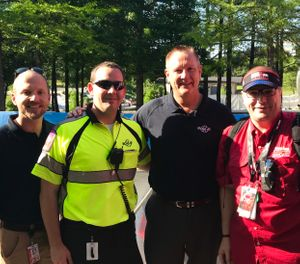 Robert Dickson, M.D.; Casey Patrick, M.D.; MCHD Chief Kevin Crocker; and Kevin Schulz, M.D. (Photo/courtesy MCHD)