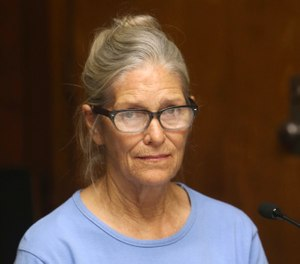 Leslie Van Houten at her parole hearing at the California Institution for Women in Corona, Calif. The youngest follower of murderous cult leader Charles Manson will ask a state panel to recommend her for parole. Van Houten, who is now 69, is scheduled for a parole hearing Wednesday, Jan. 30, 2019 at the California Institute for Women. Van Houten was previously recommended for parole twice by a state panel but former California Gov. Jerry Brown blocked her release. (Stan Lim/Orange County Register/SCNG via AP, Pool, File)