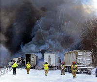 Semi with fireworks explodes, burns in 123-car pile up