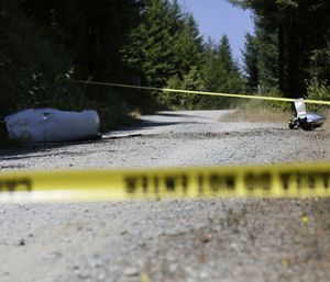 An engine nose cone with a bent propellor blade and other wreckage from a medical transport plane that crashed are shown on a road east of Crannell, Calif., Friday, July 29, 2016. Authorities found the wreckage of a small medical transport plane with four people aboard and confirmed at least two deaths Friday after the pilot reported smoke filling the cockpit and a search started across a densely forested mountain range in Northern California. (Shaun Walker/The Times-Standard via AP)