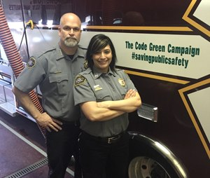 """Capt. Monique Rose and Chief Pat Songer, Humboldt General Hospital EMS, show their support for emergency responder safety."""" (Image Monique Rose)"""