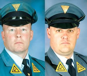 These photos provided by the New Jersey State Police show Detective Sgt. James Abbes, left, and Detective Stephen Christinzio, right. (New Jersey State Police via AP)