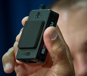 A newly issued police body camera is shown during a NYPD news conference in New York (AP Photo/Bebeto Matthews, File)