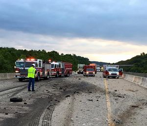 The site of a two-vehicle collision. (Photo/New Market Volunteer FD)