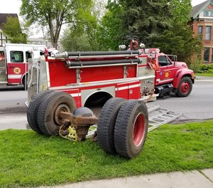 The engine's rear axle separated from the apparatus while en route to a call. (Photo/Ogdensburg Professional Firefighters Local 1799)