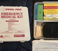 Legacy Emergency Medical Kit prior to the 1998 Aviation Medical Assistance Act (Photo/courtesy NAEMSP)