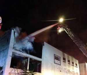 Ten engines, 12 tankers, four heavy-duty rescue squads, two ladder trucks, ambulance and additional support and fill-in units were required to battle this incident. (Photo/Shaft VFD)