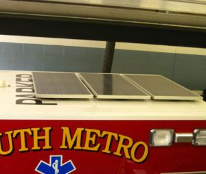 Solar panels mounted on top of the ambulance (Image courtesy South Metro Fire Authority)