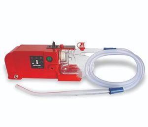 Airway obstruction can present multiple challenges, but numerous tools are available to help EMS providers with airway management, including a battery-operated suction device like the SSCOR Quickdraw Suction Unit shown here. (image/Bound Tree Medical)