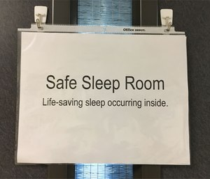 Safe Sleep Room sign alerts co-workers that paramedics are getting sleep before driving home. (Photo/Ginger Locke)