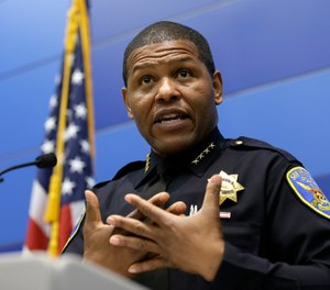 San Francisco Police Chief William Scott answers questions during a news conference, Tuesday, May 21, 2019, in San Francisco. (AP Photo/Eric Risberg)