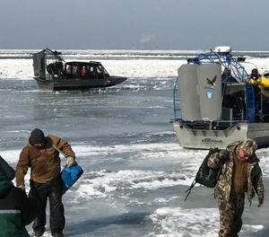 Crews rescued just under 40 people stranded on the ice sheet, while others were able to take their gear and head back to shore safely before any more ice broke off. (Photo/Ohio EMA)