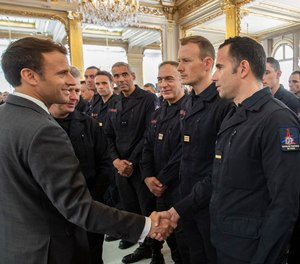 """We've seen before our eyes the right things perfectly organized in a few moments, with responsibility, courage, solidarity and a meticulous organization,"" French President Emmanuel Macron said. ""The worst has been avoided."" (Photo/Préfecture de police Twitter)"