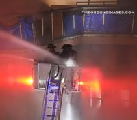 Secure in the bucket: Master stream slams firefighters