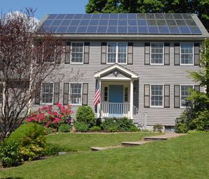 """Solar panels installed on New Hampshire buildings are required to have a """"rapid shutdown compliance"""" that turns off power to and from the system. (Photo/Wikimedia Commons)"""