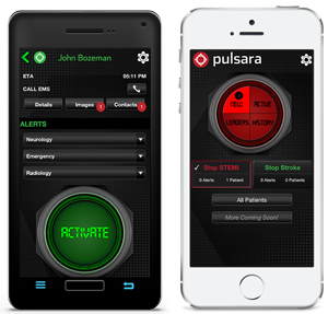 Pulsara's interface on Droid and iPhone. (photo courtesy of Pulsara)