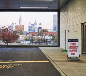 Last summer, Penn Presbyterian Medical Center added a drop-off lane to make it easier for police to deliver victims to its emergency room doors. (Photo/Dave Londres for The Trace)