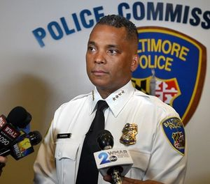 Baltimore Police Commissioner Darryl DeSousa during a news conference on May 9, 2018, at Police Headquarters. He was charged on Thursday, May 10, 2018, by federal prosecutors with three misdemeanor counts of failing to file federal taxes. (Amy Davis/Baltimore Sun/TNS)