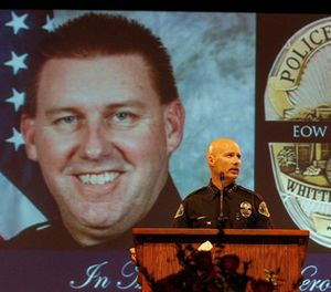 Whittier police chief Jeff Piper speaks at the funeral service of slain Whittier police officer Keith Boyer at Calvary Chapel on March 3, 2017 in Downey, Calif. (Irfan Khan/Los Angeles Times/TNS)