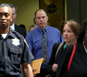 Chicago Policer Officer Thomas Gaffney leaves court to get fingerprinted on Monday July 10, 2017. Three Chicago police officers who were indicted for covering up the facts in the shooting death of Laquan McDonald by officer Jason Van Dyke appeared at the Leighton Criminal Courts Building in Chicago, Ill. (Nancy Stone/Chicago Tribune/TNS)
