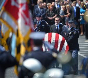 The funeral service for Officer Amy Caprio which was held on May 25, 2018 at the Mountain Christian Church in Joppa, Md. (Lloyd Fox/Baltimore Sun/TNS)